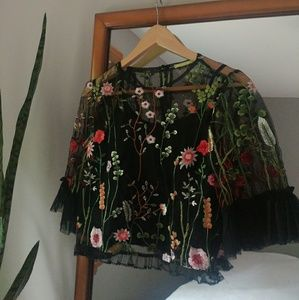 Black floral embroidered crop blouse